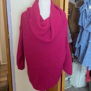 Sweaters - Fuscia Cowl Neck Tunic Sweater